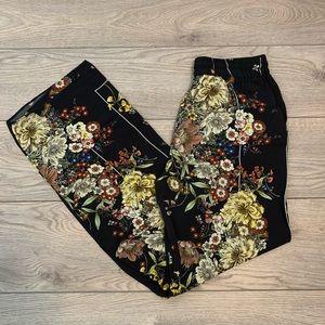 Zara floral print wide leg pants